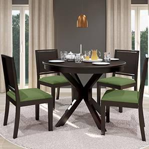 Liana - Oribi 4 Seater Round Dining Table Set (Mahogany Finish, Avocado Green) by Urban Ladder - Front View Design 1 - 116766