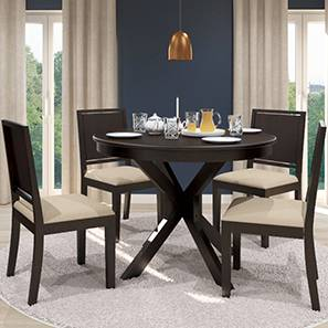 Liana - Oribi 4 Seater Round Dining Table Set (Mahogany Finish, Wheat Brown) by Urban Ladder