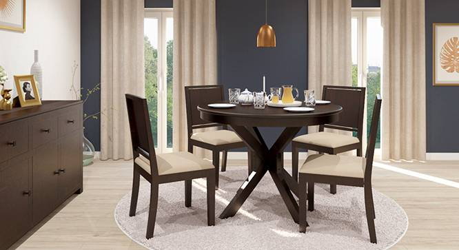 Liana - Oribi 4 Seater Round Dining Table Set (Mahogany Finish, Wheat Brown) by Urban Ladder