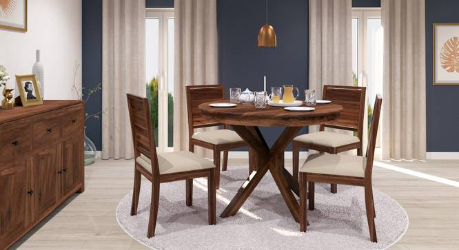 Liana - Oribi 4 Seater Round Dining Table Set (Teak Finish, Wheat Brown) by Urban Ladder - Front View Design 1 - 116793