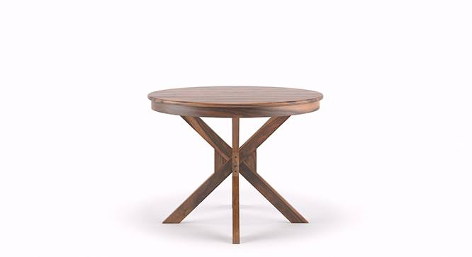 Liana - Oribi 4 Seater Round Dining Table Set (Teak Finish, Wheat Brown) by Urban Ladder - Front View Design 2 - 116794