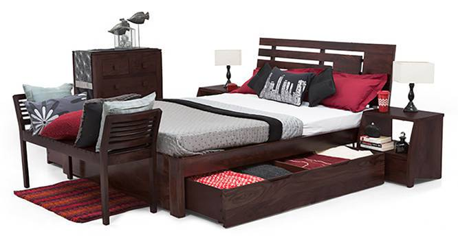 Stockholm Storage Bed (Solid Wood) (Mahogany Finish, King Bed Size, Drawer Storage Type) by Urban Ladder - Half View Design 1 - 117022