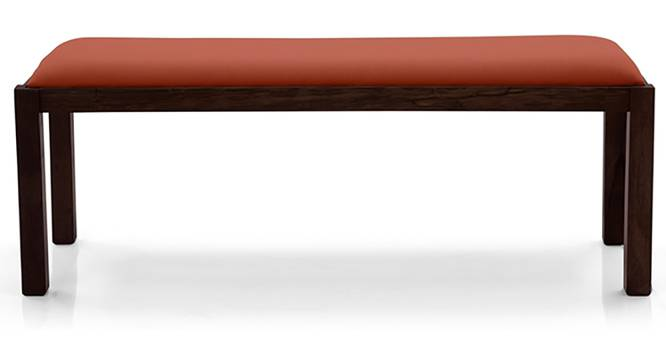 Oribi Upholstered Dining Bench (Mahogany Finish, Burnt Orange) by Urban Ladder