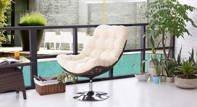 Calabah Swivel Lounge Chair - Set Of 2 (Cream) by Urban Ladder