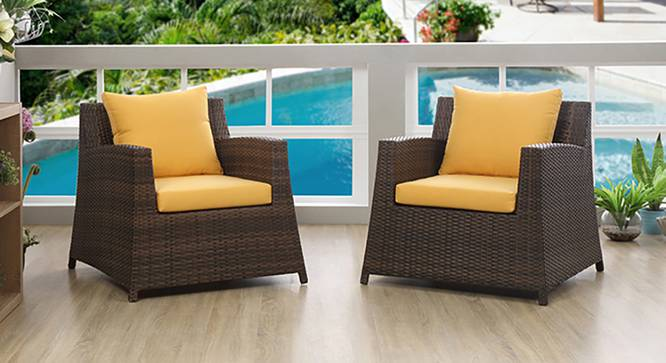 Samui Patio Chair - Set Of 2 (Brown Finish) by Urban Ladder - Half View Design 1 - 118077