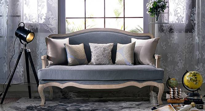 Lyon 2 Seater Sofa (Grey Fabric, Distressed Wood Finish) by Urban Ladder