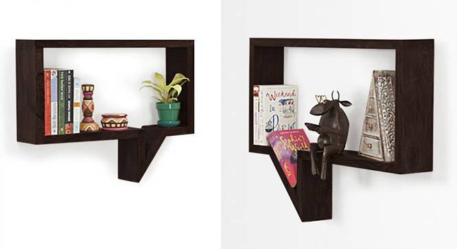 Quote-Unquote Wall Shelves (Set of 2) (Mahogany Finish) by Urban Ladder - Half View Design 1 - 118662