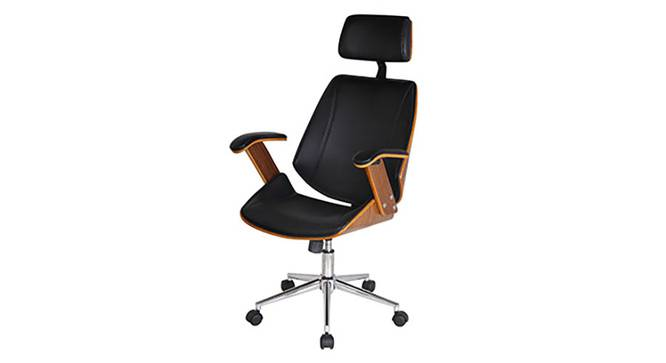 Ray Executive Study Chair (Walnut Finish, Black) by Urban Ladder