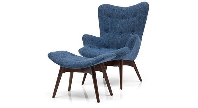 Contour Chair & Ottoman Replica (Blue) by Urban Ladder - Design 1 Front View - 119579