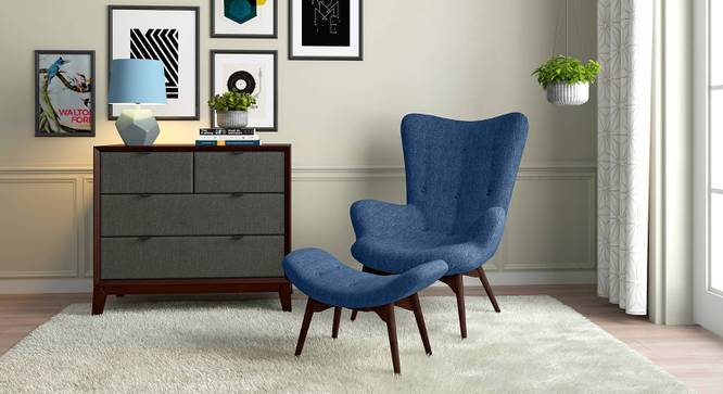 Contour Chair & Ottoman Replica (Blue) by Urban Ladder - Full View Design 1 - 119580
