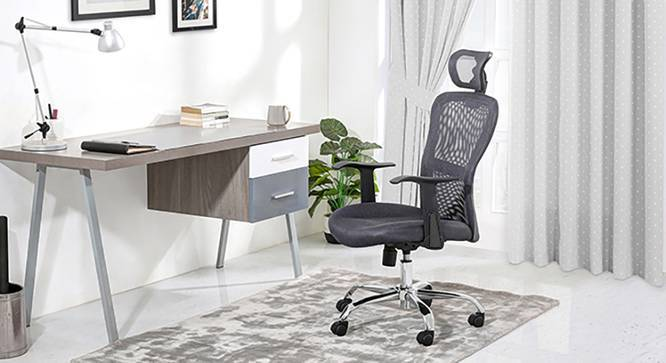 Venturi Study Chair-3 Axis Adjustable (Ash Grey) by Urban Ladder - Full View Design 1 - 119620