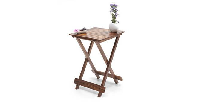 Latt Folding Table/Stool Tall (Teak Finish) by Urban Ladder - Half View Design 1 - 119807