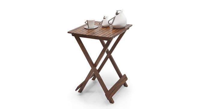 Latt Folding Table/Stool Tall (Teak Finish) by Urban Ladder - Design 1 Semi Side View - 119808