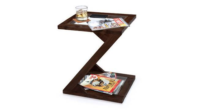 Zeta Glass Top Side Table (Mahogany Finish) by Urban Ladder - Half View Design 1 - 120262