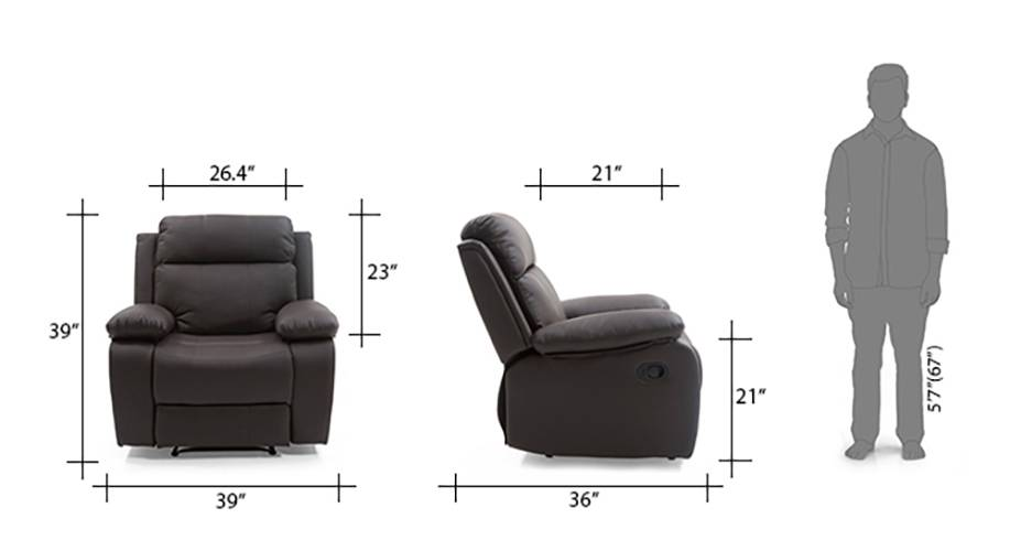 Robert recliner chocolate brown 09 10