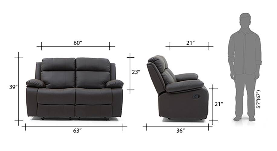 Robert recliner 2 seater chocolate brown 13 14