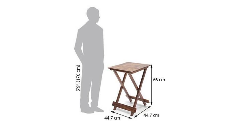 Latt folding table stool tall teak finish img dim2