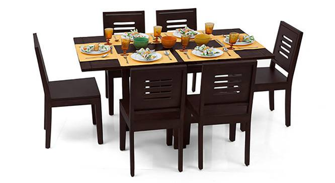 Danton 3-to-6 - Capra 6 Seat Folding Dining Table Set (Mahogany Finish) by Urban Ladder - Half View Design 1 - 121923