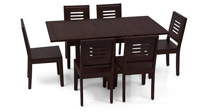 Danton 3-to-6 - Capra 6 Seat Folding Dining Table Set (Mahogany Finish) by Urban Ladder - Front View Design 1 - 121924