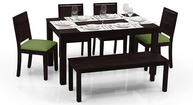 Arabia - Oribi 6 Seater Dining Table Set (With Bench) (Mahogany Finish, Avocado Green) by Urban Ladder