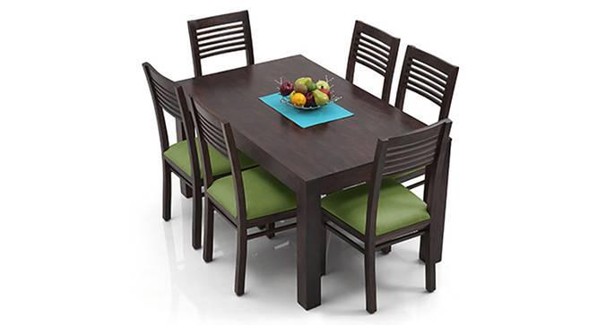 Arabia - Zella 6 Seater Dining Table Set (Mahogany Finish, Avocado Green) by Urban Ladder