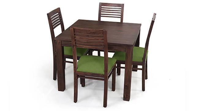 Arabia Square - Zella 4 Seater Dining Table Set (Mahogany Finish, Avocado Green) by Urban Ladder