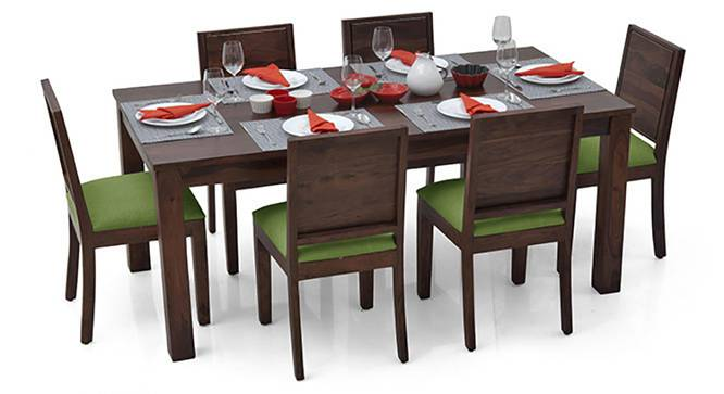 Arabia XL - Oribi 6 Seater Dining Set (Mahogany Finish, Avocado Green) by Urban Ladder