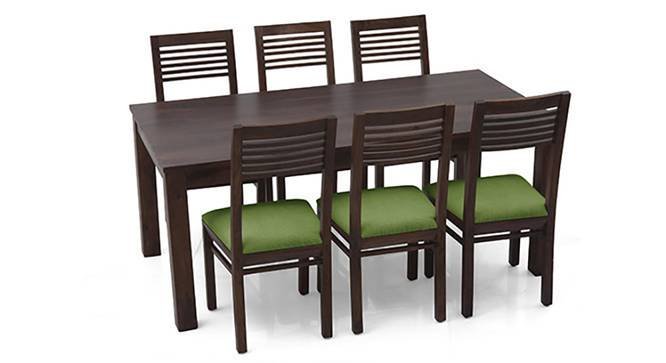Arabia XL - Zella 6 Seater Dining Set (Mahogany Finish, Avocado Green) by Urban Ladder
