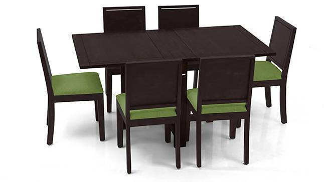 Danton 3-to-6 - Oribi 6 Seater Folding Dining Table Set (Mahogany Finish, Avocado Green) by Urban Ladder - Front View Design 1 - 123110
