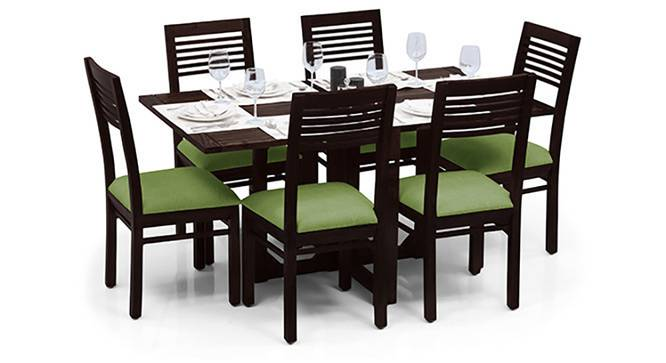 Danton 3-to-6 - Zella 6 Seater Folding Dining Table Set (Mahogany Finish, Avocado Green) by Urban Ladder - Half View Design 1 - 123118