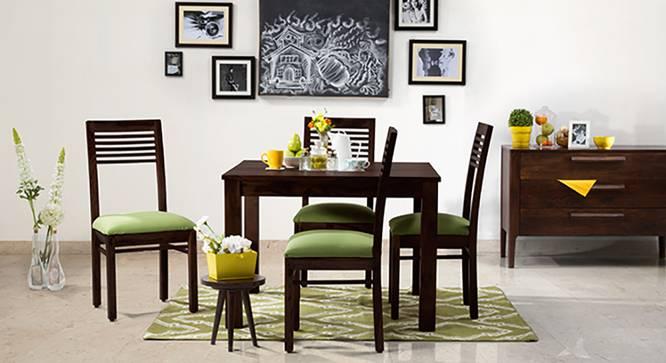Brighton Square - Zella 4 Seater Dining Table Set (Mahogany Finish, Avocado Green) by Urban Ladder