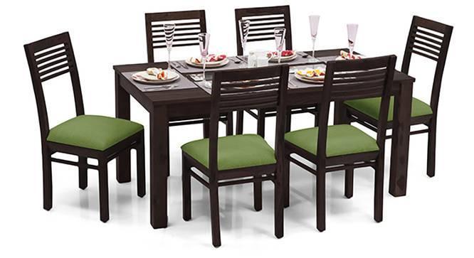 Brighton - Zella 6 Seater Dining Table Set (Mahogany Finish, Avocado Green) by Urban Ladder