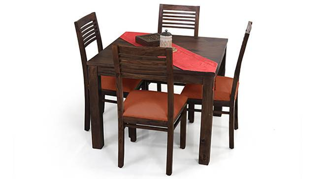 Arabia Square - Zella 4 Seater Dining Table Set (Mahogany Finish, Burnt Orange) by Urban Ladder