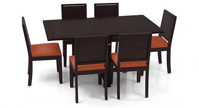 Danton 3-to-6 - Oribi 6 Seater Folding Dining Table Set (Mahogany Finish, Burnt Orange) by Urban Ladder - Front View Design 1 - 123341