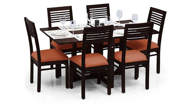 Danton 3-to-6 - Zella 6 Seater Folding Dining Table Set (Mahogany Finish, Burnt Orange) by Urban Ladder - Half View Design 1 - 123349