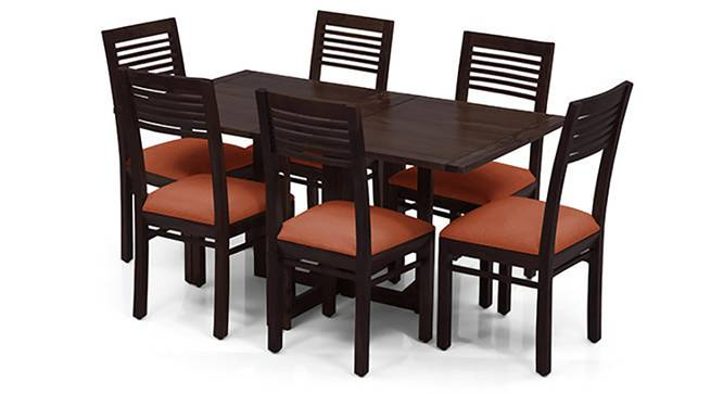Danton 3-to-6 - Zella 6 Seater Folding Dining Table Set (Mahogany Finish, Burnt Orange) by Urban Ladder