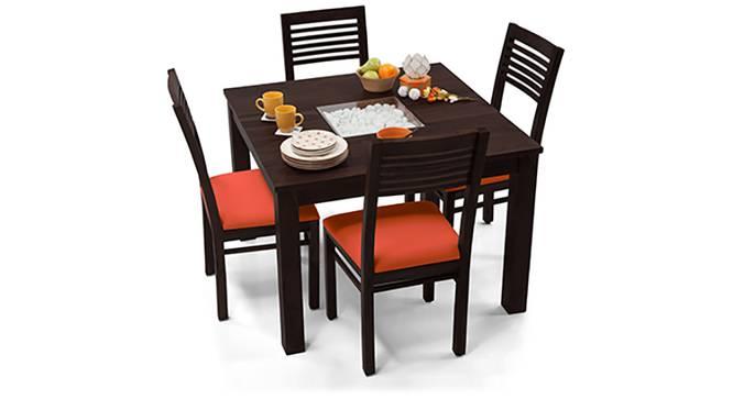 Brighton Square - Zella 4 Seater Dining Table Set (Mahogany Finish, Burnt Orange) by Urban Ladder