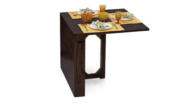 Danton 3-to-6 - Gordon 3 Seater Folding Dining Table Set (Mahogany Finish) by Urban Ladder - Half View Design 2 - 123598