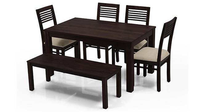 Arabia - Zella 6 Seater Dining Table Set (With Bench) (Mahogany Finish, Wheat Brown) by Urban Ladder