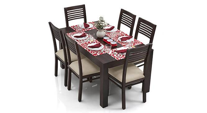 Arabia - Zella 6 Seater Dining Table Set (Mahogany Finish, Wheat Brown) by Urban Ladder
