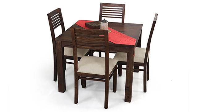 Arabia Square - Zella 4 Seater Dining Table Set (Mahogany Finish, Wheat Brown) by Urban Ladder
