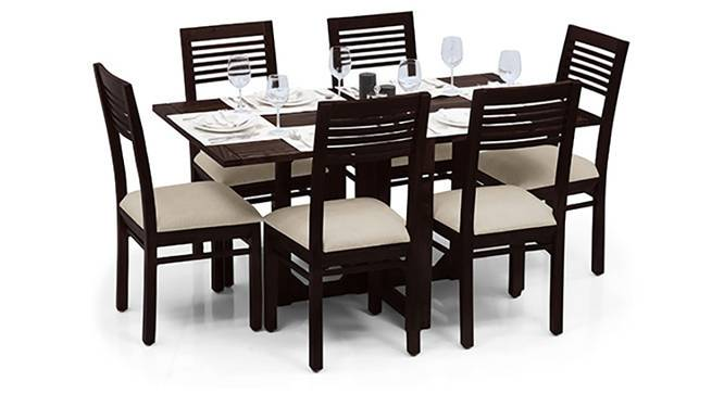Danton 3-to-6 - Zella 6 Seater Folding Dining Table Set (Mahogany Finish, Wheat Brown) by Urban Ladder