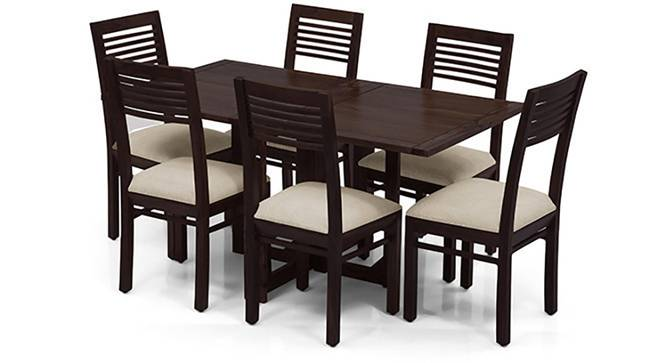 Danton 3-to-6 - Zella 6 Seater Folding Dining Table Set (Mahogany Finish, Wheat Brown) by Urban Ladder - Front View Design 1 - 123780