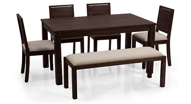 Arabia - Oribi 6 Seater Dining Set (With Bench) (Mahogany Finish, Wheat Brown) by Urban Ladder - Front View Design 1 - 123864