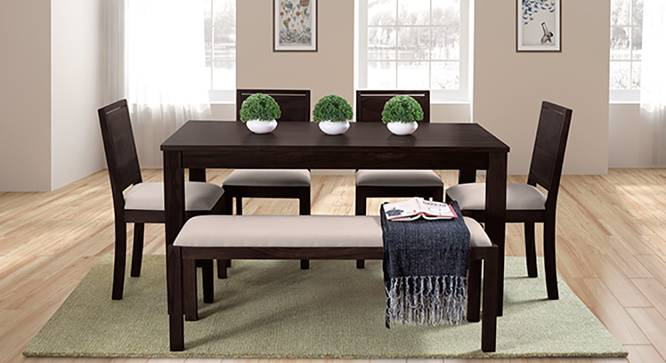 Arabia - Oribi 6 Seater Dining Set (With Bench) (Mahogany Finish, Wheat Brown) by Urban Ladder - Full View Design 1 - 123865