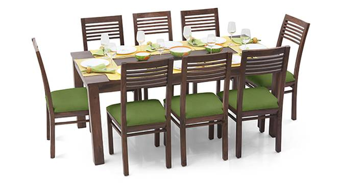 Arabia XL - Zella 8 Seater Dining Set (Teak Finish, Avocado Green) by Urban Ladder