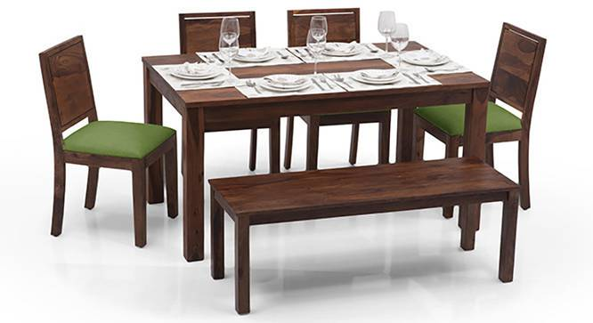Arabia - Oribi 6 Seater Dining Table Set (With Bench) (Teak Finish, Avocado Green) by Urban Ladder