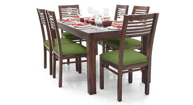 Arabia - Zella 6 Seater Dining Table Set (Teak Finish, Avocado Green) by Urban Ladder