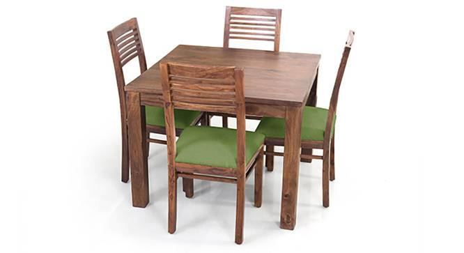 Arabia Square - Zella 4 Seater Dining Table Set (Teak Finish, Avocado Green) by Urban Ladder