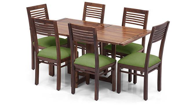 Danton 3-to-6 - Zella 6 Seater Folding Dining Table Set (Teak Finish, Avocado Green) by Urban Ladder - Front View Design 1 - 123999